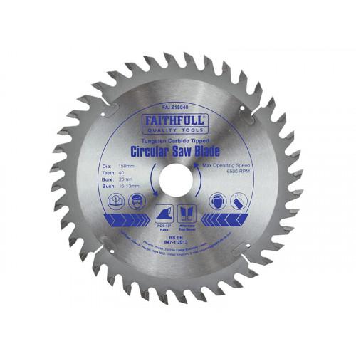 Faithfull TCT Circular Saw Blade 150 x 20mm x 40T POS