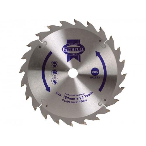 Faithfull TCT Circular Saw Blade 180 x 16mm x 24T POS