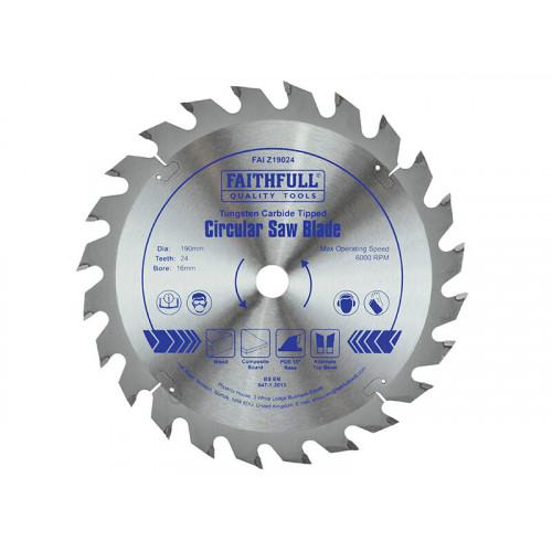 Faithfull TCT Circular Saw Blade 190 x 16mm x 24T POS