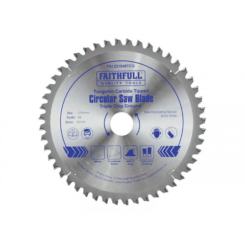 Faithfull TCT Circular Saw Blade Triple Chip Ground 216 x 30mm x 48T NEG