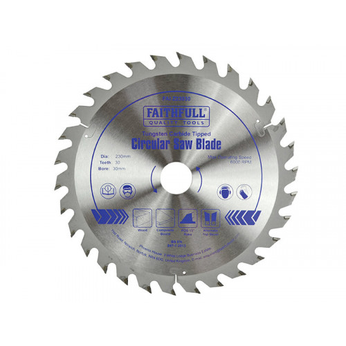 Faithfull TCT Circular Saw Blade 230 x 30mm x 30T POS
