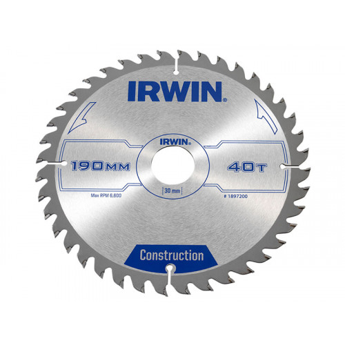 IRWIN® Construction Circular Saw Blade 190 x 30mm x 40T ATB
