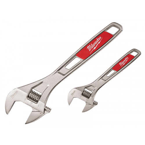Milwaukee Hand Tools Adjustable Wrench Twin Pack 150mm (6in) & 250mm (10in)
