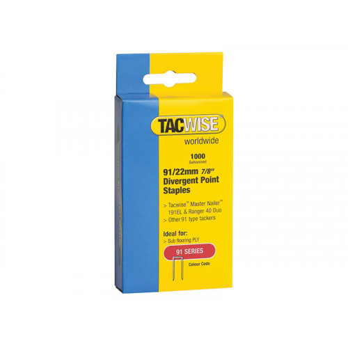 Tacwise 91 Narrow Crown Divergent Point Staples 22mm - Electric Tackers Pack 1000
