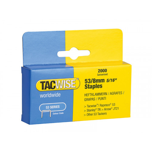 Tacwise 53 Light-Duty Staples 8mm (Type JT21 A) Pack 2000
