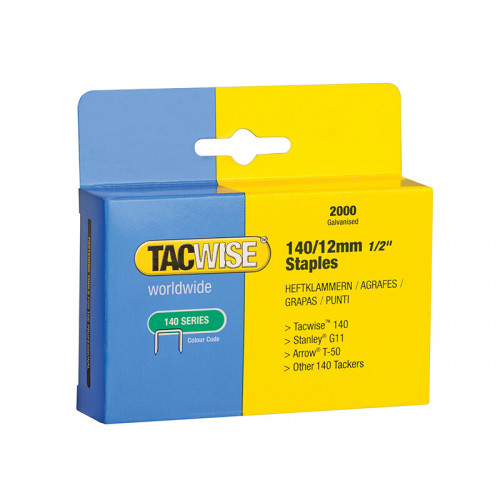 Tacwise 140 Heavy-Duty Staples 12mm (Type T50 G) (Pack 2000)