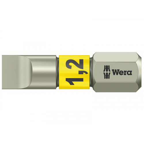 Wera 3800/1 TS Slotted 6.5 x 1.2mm Torsion Stainless Insert Bit 25mm